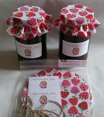 jam covers fabric FREE BANDS & JAR LABELS choose  6  12 or 100