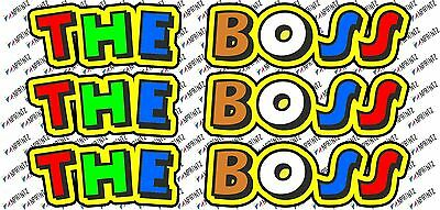 """Valentino Rossi style text - """"THE BOSS""""  !! x3  stickers / decals - 5in x 1in"""
