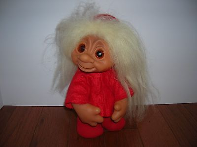 """Vintage DAM NORFIN 10""""TROLL Doll JOINTED Red Outfit Christmas?White Hair DENMARk"""