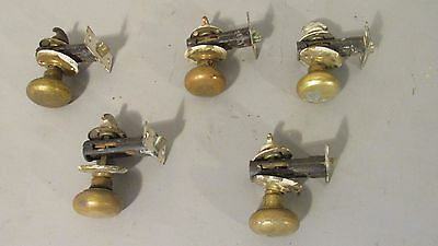 Lot Of Five Brass Door Knobs With Turn Key
