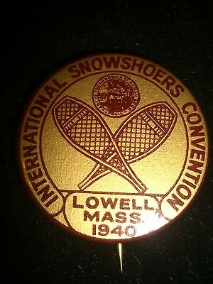 Vintage 1940 International Showshoers Convention Pin Lowell Ma Mass Showshoes