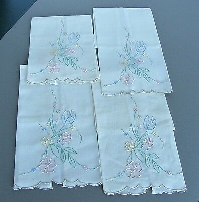 4 Matching Madeira Vintage Embroidered Linen Hand Towels with Tags Portugal