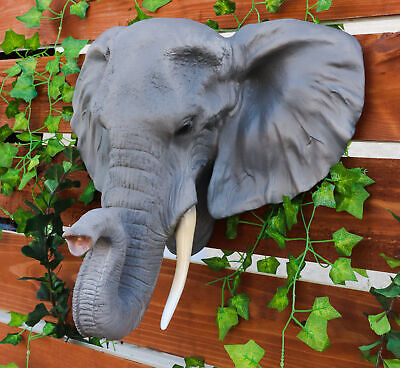 "Large 19""L Sahara Elephant Wall Bust For Home Decor Wall Plaque Hanging Figurine"