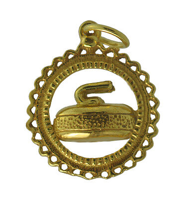 Yellow 24K Gold plated real silver curling stone rock championship jewelry charm