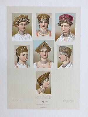 1880 - Russia Russland Kopfbedeckung Trachten costumes Lithographie lithograph
