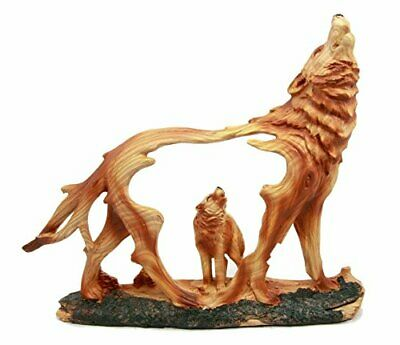 Woodlands Hill Scene Blood Moon Howling Gray Alpha Wolf Faux Wood Resin Figurine
