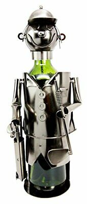 Pro Golfer With Golf Club And Caddy Bag Hand Made Steel Metal Wine Bottle Holder