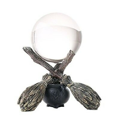 Pagan Wiccan & Witchraft Cauldron Broomstick Crystal Ball Figurine Sculpture