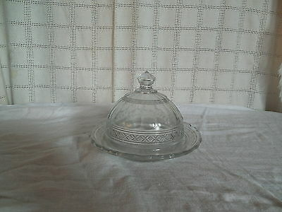vintage domed glass butter dish