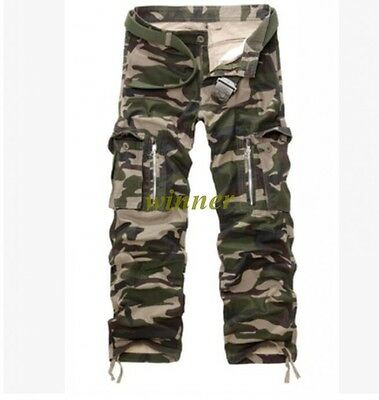 Kruze Mens Military Combat Trousers Camouflage Cargo Camo Army Casual Work Pants