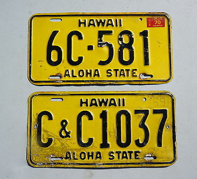 1969 & 1970 Hawaii License Plate LOT OF 2