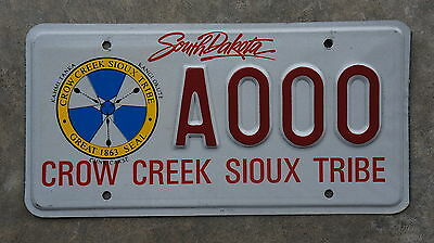 Authentic CROW CREEK SIOUX TRIBE South Dakota License Plate - Indian Tribal