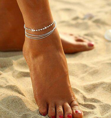 Multi Layer Crystal Silver Ball Bracelet Anklet Ankle Foot Chain Women Jewellry