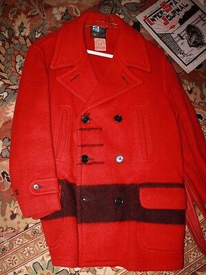 Hudson Bay Red wool Point Blanket Mackinaw Jacket 1950s Pittsfield ME Sports
