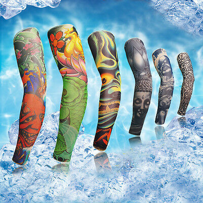 Tattoo Cooling Arm Sleeves Cover Sun Protection Basketball Cycling Golf Sport #