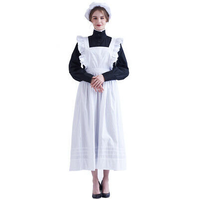 Victorian Edwardian Housekeeper Servant Cosplay Walking Dress Maid Apron Costume