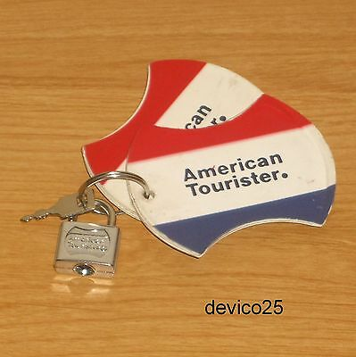 Vintage American Tourister Luggage/suitcase Silver Mini Padlock/key & 2 Id Tags