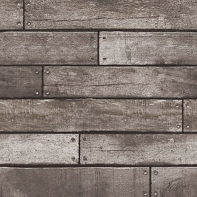 DARK BROWN & CHARCOAL WOODEN PLANK EFFECT WALLPAPER 10m - FINE DECOR WOOD NEW