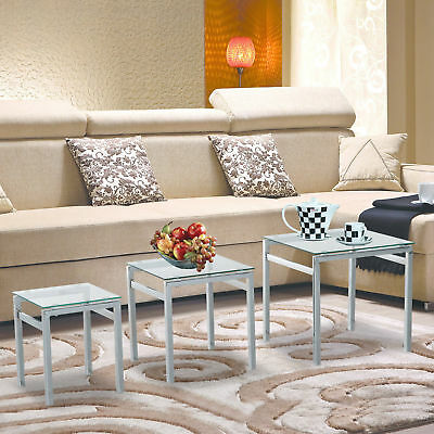 Contemporary Glass Nest of Tables 3pcs Display Stack Side End Home Furniture