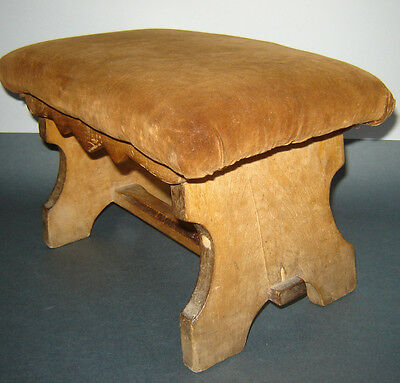 Antique Old 19c Victorian Rest Foot Small Chair Stool Wood and Fabric Footstool