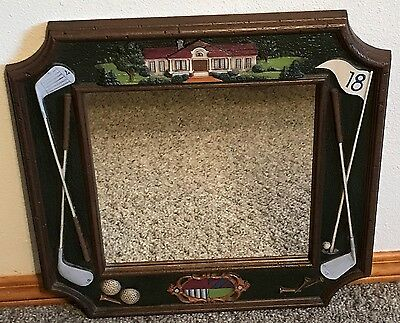 "Homco Home Interiors Golf Theme Mirrow VGC 20"" x 20"" Clubs Tees Balls 18th Hole"