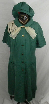 Vintage 1960s Girl Scout Uniform Dress Tam Hat Gloves Scarf Polyester/Wool