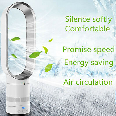 """Bladeless Silver 16"""" With Remote Control AirFlow Cooling Fan Low db Home Office"""