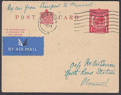 1934 Liverpool Airmail to Plymouth; 1d Stationery Postcard