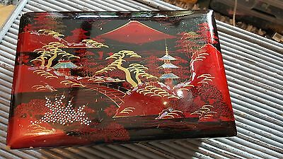 Chinese Black Lacquer Jewellery Box - Musical Box - With original keys