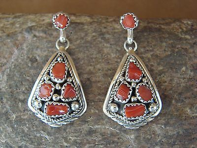 Native American Coral Cluster Post Earrings! Navajo Indian Jewelry