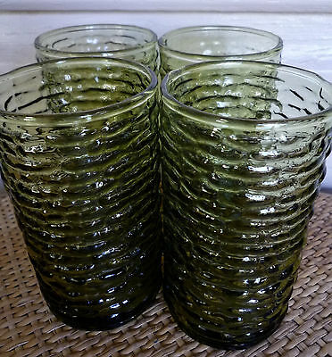 1970s retro barkglass tumblers set of 4 ~ vintage green barkglass tumblers