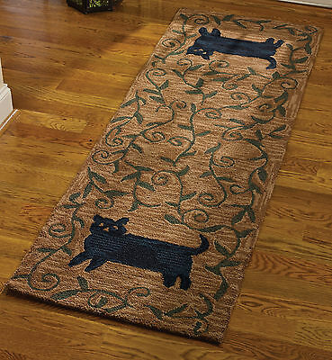 Folk Art Black Cat Hooked Rug Runner by Park Designs, 24x72, Hand Crafted 403-37
