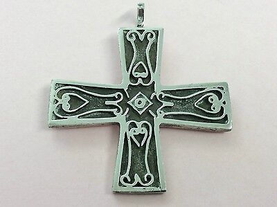 Rare Vintage Ortak Sterling Silver Cross Pendant By Malcolm Gray 1975
