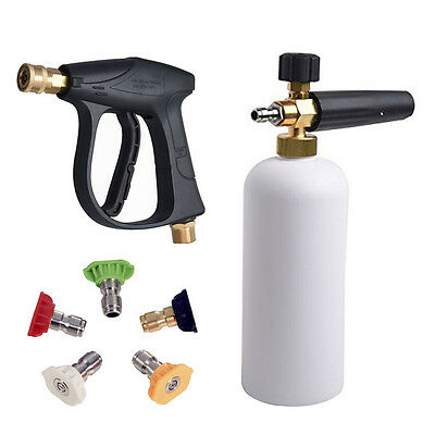 High Pressure 1L Snow Foam Bottle Power Washer Spray Nozzle Tips Water Gun Jet