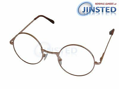 Gold Lightweight Round Reading Glasses Circle Frame Long Sighted Light RG041
