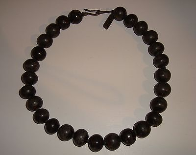 """Vintage Rebecca Collins 18"""" Necklace Sterling Silver and Old Wooden Beads"""
