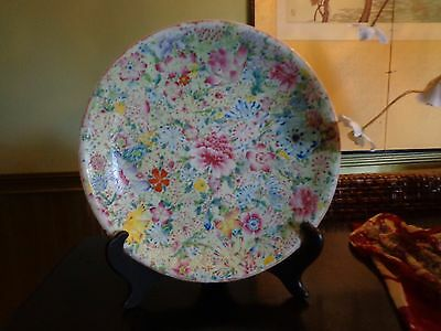 Chinese Qing Dynasty Famille Rose Flowers Porcelain Dish Plate Charger Large