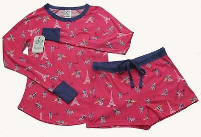 2 Pc Munki Munki Pink Eiffel Tower Le Woof Dogs L/S Top & Shorts Pajama Set NWT