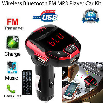Wireless Bluetooth LCD FM Transmitter USB Car Kit MP3 Player Remote Controller