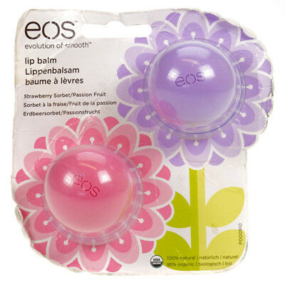 EOS Lip Balm Pack of 2 1 x Strawberry & 1 x Passion Fruit Damaged Packaging