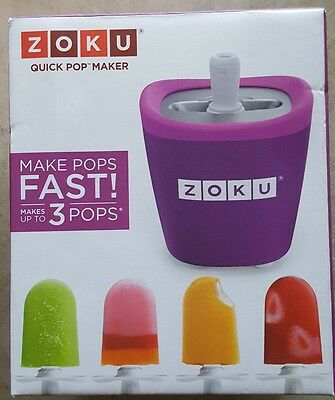 NEW Zoku Quick Pop Maker ~ Purple ~ 3 Healthy Popsicles 7-9 Minutes Summer Fun