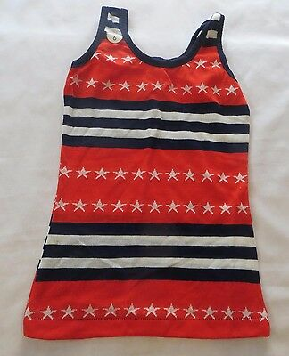 Vintage 70s Tank Top Shirt Dead Stock sz 6 Stars and Stripes