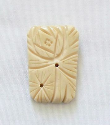 RARE Vintage Pyralin French Ivory Carved Ivory Look Dress Clip