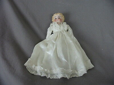 Vintage Bisque/porcelain Doll Head With Blond Molded Hair -Glass Eyes Open