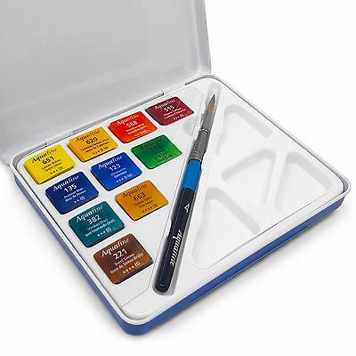 Aquafine Watercolour Paint Brush Mini Travel Set - 10 Watercolours + Brush