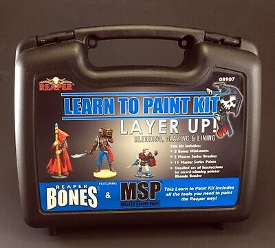 Learn to Paint Kit: Layer Up! by Reaper Miniatures RPR08907 w/Plastic Case Bones