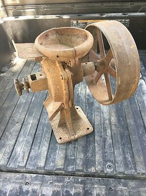 Corn Grain  Grinder vintage cast iron hit miss Engine Flat Belt Pulley Free Ship