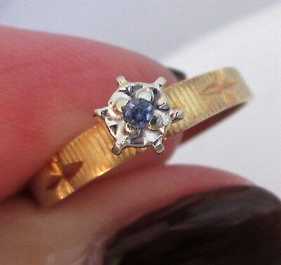 14K Yellow White Bright Cut Gold Blue Sapphire Illusion Engagement Ring Sz 6.5