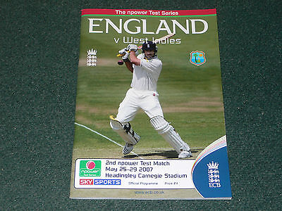 2007 Cricket 2nd Test (Headingley) ENGLAND v. WEST INDIES official programme