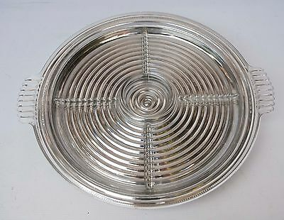 Crystal Glass Manhattan Divided Platter 5 Part Relish + silver party susan tray